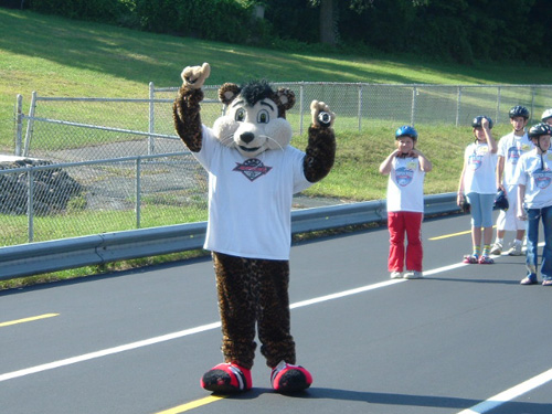 Akron Racers Mascot Wheelie